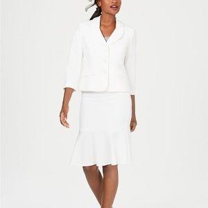 Le Suit Three-Button Crepe Skirt Suit White